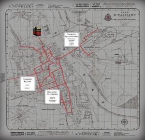 08 plan linii tramwajowej z zaznaczonymi dworcami