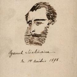 Autoportret Sienkiewicza rys. piórkiem 14 IV 1898 r