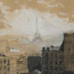 Ludwik de Laveux, Widok Paryża z wieżą Eiffla, ok. 1890, Muzeum Narodowe w Kielcach