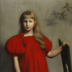 Józef Pankiewicz, Portret dziewczynki w czerwonej sukience (Józefy Oderfeldówny), 1897, Muzeum Narodowe w Kielcach
