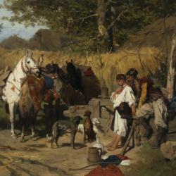 Józef Brandt, Zaloty. Kozak z dziewczyną przy studni, 1875, Muzeum Narodowe w Kielcach