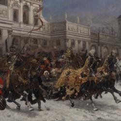 Józef Brandt, Wyjazd królowej Marysieńki z Wilanowa, ok. 1897, Muzeum Narodowe w Kielcach