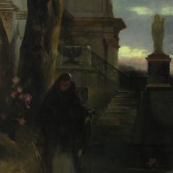Henryk Siemiradzki, Kobieta przed pałacem o zmierzchu, ok. 1890, Muzeum Narodowe w Kielcach